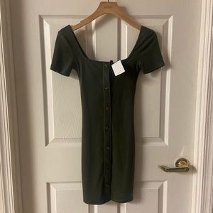 NWT Off Shoulder Army Green Bodycon Mini Dress XS